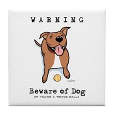 Beware of Dog Tile Coaster