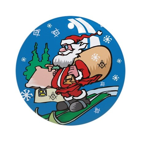 Snowing S&C's Masonic Ornament (Round)