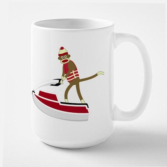 Sock Monkey Jet Ski Large Coffee Mug