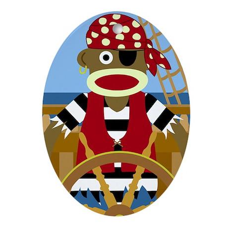 Sock Monkey Pirate Oval Ornament