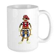 Sock Monkey Pirate Large Coffee Mug