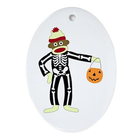 Sock Monkey Halloween Ornament (Oval)