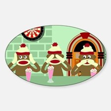 No Evil Sock Monkey Ice Cream Oval Decal