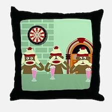 No Evil Sock Monkey Ice Cream Throw Pillow