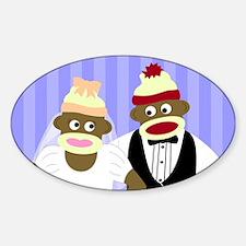 Sock Monkey Wedding Oval Decal