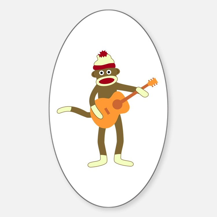 Sock Monkey Acoustic Guitar Oval Decal