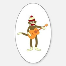 Sock Monkey Acoustic Guitar Oval Stickers