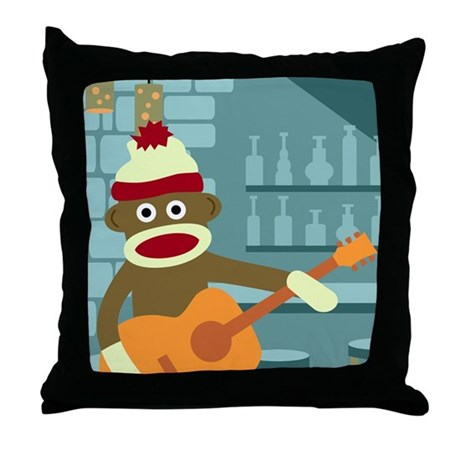 Sock Monkey Acoustic Guitar Throw Pillow