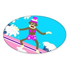 Sock Monkey Surfer Girl Oval Decal