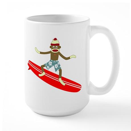 Sock Monkey Surfer Large Coffee Mug