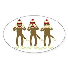 No Evil Sock Monkeys Oval Bumper Stickers