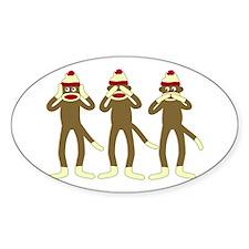No Evil Sock Monkeys Oval Stickers