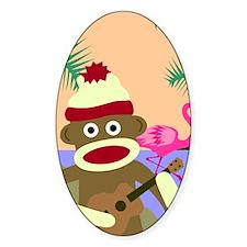 Sock Monkey Ukulele Oval Decal