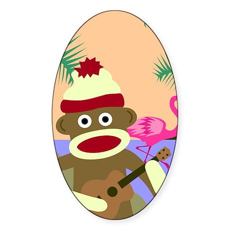 Sock Monkey Ukulele Oval Sticker