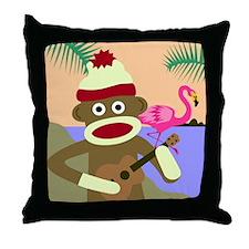 Sock Monkey Ukulele Throw Pillow