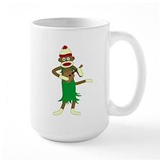 Sock Monkey Ukulele Large Coffee Mug