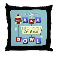 Sock Monkey Tiki Bowling Throw Pillow