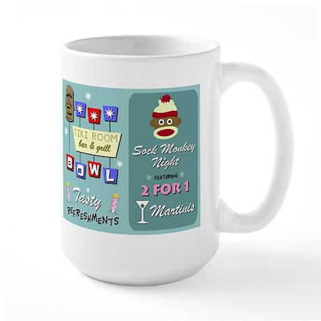 Sock Monkey Tiki Bowling Large Coffee Mug