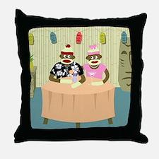 Sock Monkey Boy & Girl Love Throw Pillow