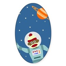 Sock Monkey Astronaut Oval Decal