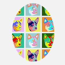 Australian Cattle Dog Pop Art Oval Ornament