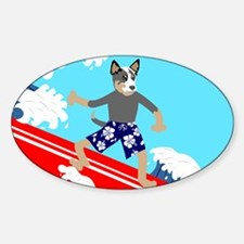 Australian Cattle Dog Surfer Oval Decal