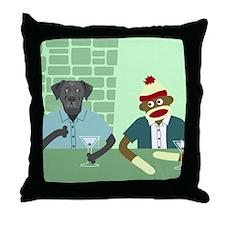 Black Lab Sock Monkey Throw Pillow