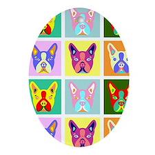 Boston Terrier Pop Art Oval Ornament