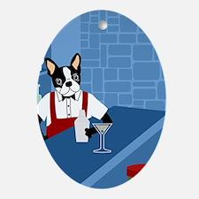 Boston Terrier Bartender Oval Ornament