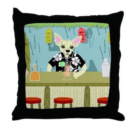 Chihuahua Tiki Bar Throw Pillow