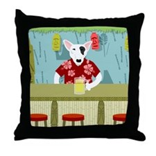 English Bull Terrier Tiki Bar Throw Pillow