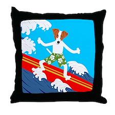 Jack Russell Terrier Surfer Throw Pillow