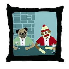 Pug Dog & Sock Monkey Throw Pillow