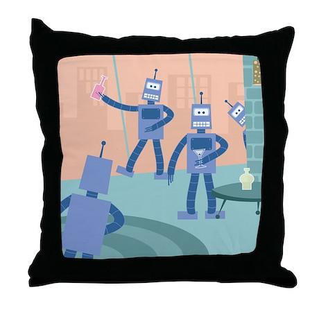 Robot Cocktail Party Throw Pillow