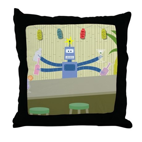 Tiki Robot Bartender Throw Pillow
