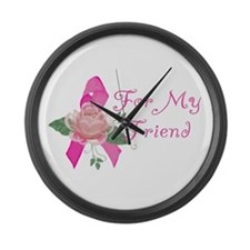 Breast Cancer Support Friend Large Wall Clock