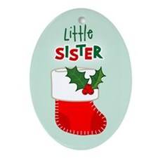 Little Sister Christmas Stocking Oval Ornament