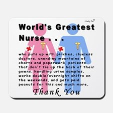 World's Greatest Nurse Mousepad