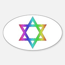 Gay Pride Star of David Oval Decal
