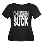 Children Suck Women's Plus Size Scoop Neck Dark T-