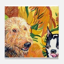 Airedale & Boston terrier Tile Coaster