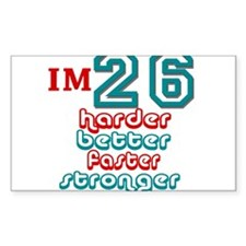 26 harder better faster Rectangle Decal