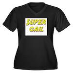 Super gail Women's Plus Size V-Neck Dark T-Shirt