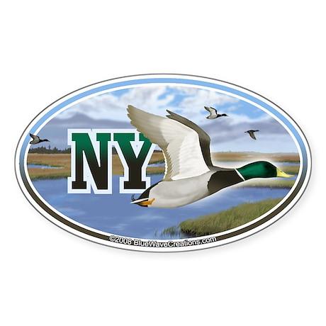 NY New York Mallard Ducks oval car bumper sticker