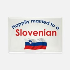 Happily Married Slovenian 2 Rectangle Magnet