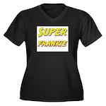 Super frankie Women's Plus Size V-Neck Dark T-Shir