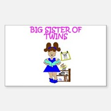 Big Sister of Twins Rectangle Decal