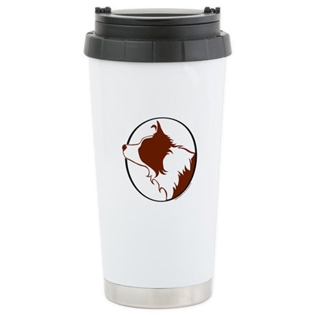 Border Collie Head R&W Stainless Steel Travel Mug