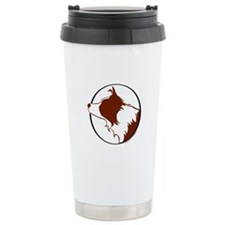 Border Collie Head R&W Travel Mug