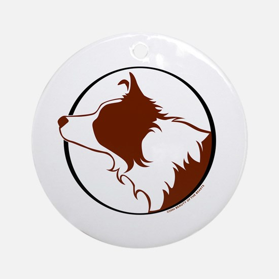 Border Collie Head R&W Ornament (Round)